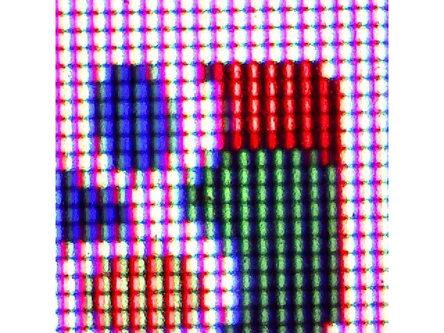 Full ~200x zoom magnified section of screen with the google logo showing the individual pixels