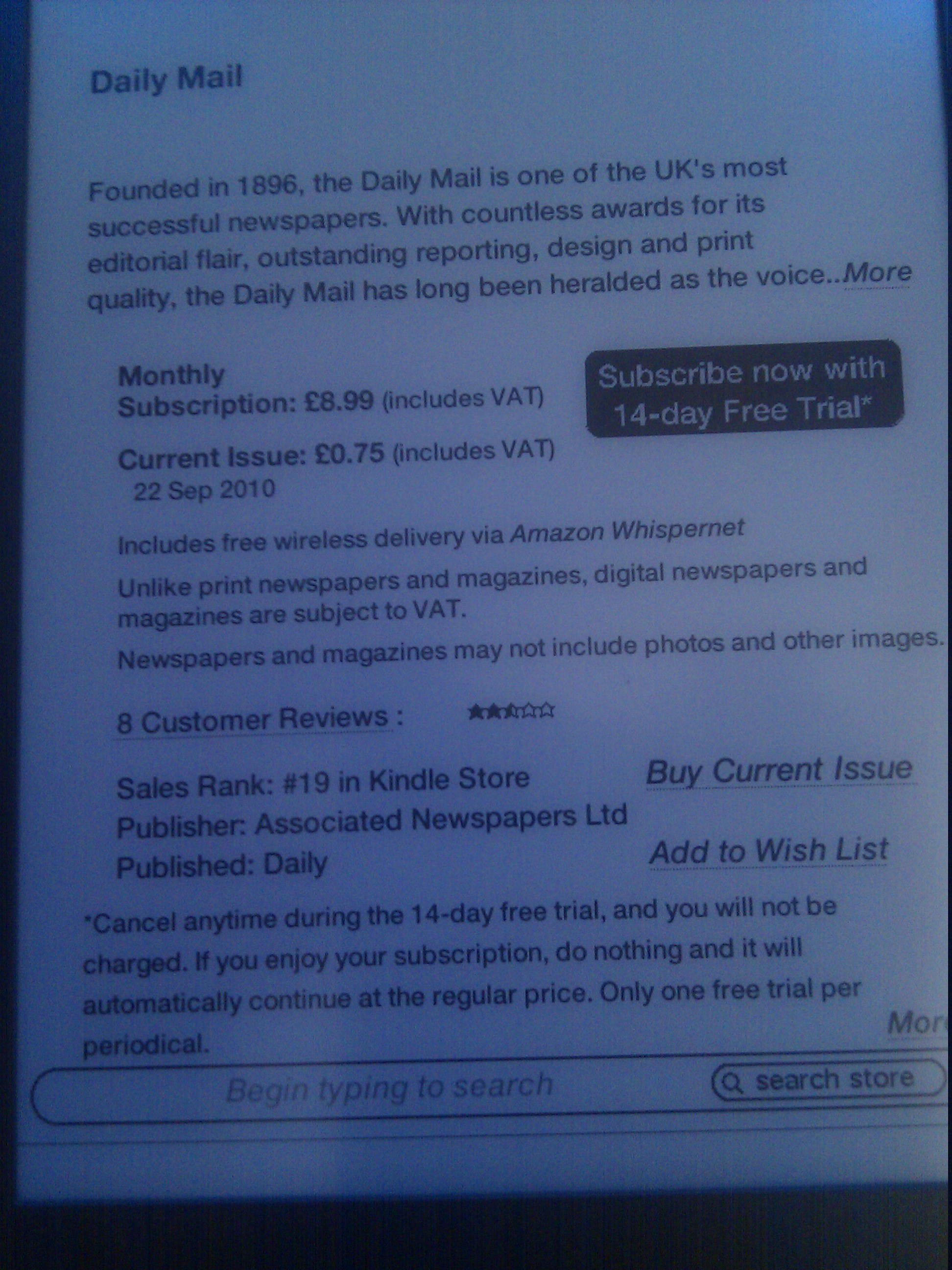 Newspaper subscription on kindle (free 14 day trial on most subscriptions)
