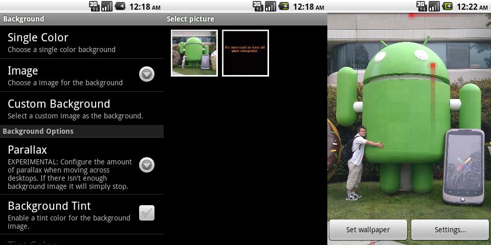 Setting a custom background image
