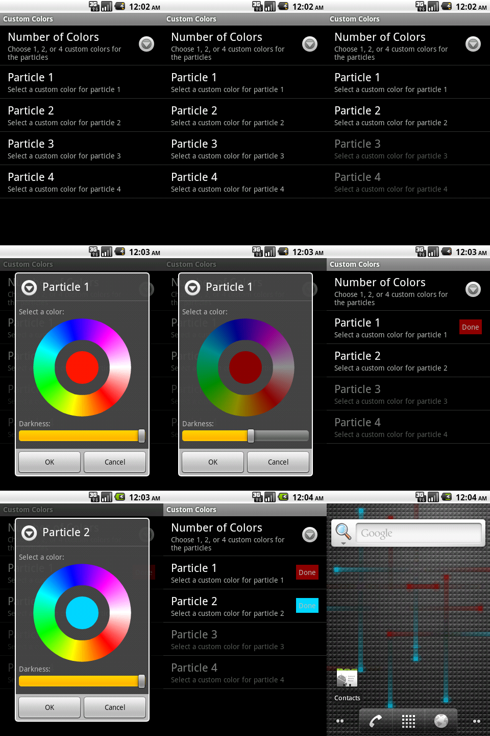 Follow this like a story board, left to right top to bottom. Shows the process of selecting custom colors